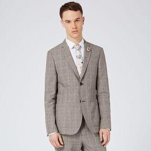 TOPMAN Gray Check Linen Rich Skinny Fit Blazer